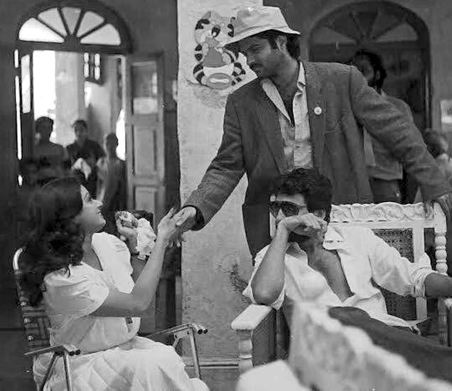 मिस्टर इंडियाच्या सेटवर श्रीदेवी आणि अनिल कपूर. - Divya Marathi