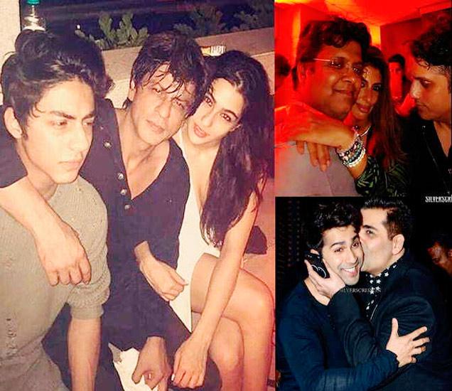 अभिनेता शाहरुख खान त्याचा मुलगा आर्यन आणि सैफ अली खानची मुलगी सारा अली खानसोबत दिसतोय. उजवीकडे वर - तनुज गर्गसोबत श्वेता नंदा आणि मोहित सुरी, खाली - वरुण धवनला किस करताना करण जोहर - Divya Marathi
