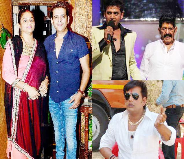 पत्नी प्रीतीसोबत आणि (R) वडील श्यामनारायण शुक्लासोबत रवी किशन - Divya Marathi