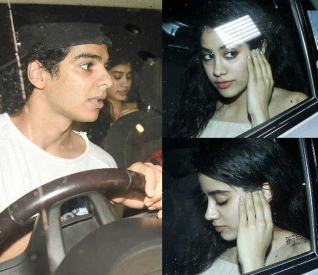 ईशान खट्टरबरोबर कारमध्ये जान्हवी कपूर. कॅमेरा पाहून लपण्याचा प्रयत्न करणारी जान्हवी. - Divya Marathi
