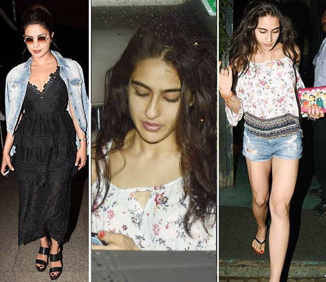 एअरपोर्टवर दिसली प्रियांका चोप्रा. मुंबईत रेस्तरॉबाहेर स्पॉट झाली सारा अली खान. - Divya Marathi