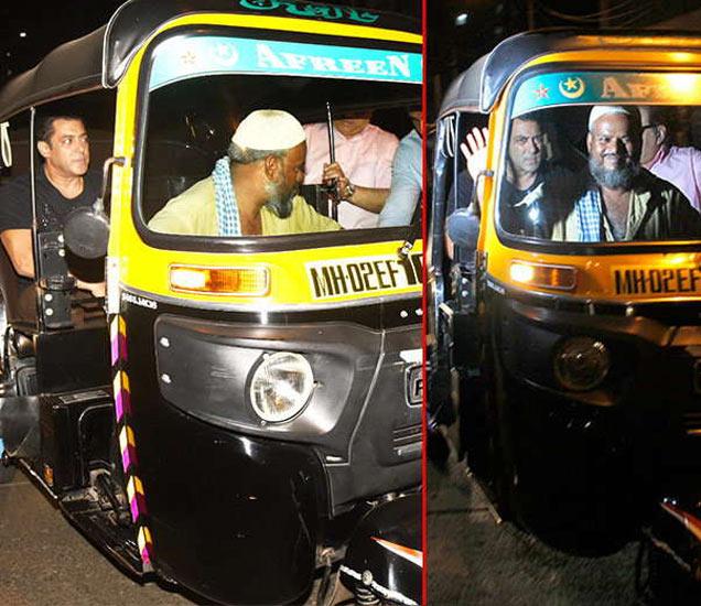 मुंबईच्या रस्त्यांवर ऑटोमध्ये फिरताना सलमान खान. - Divya Marathi