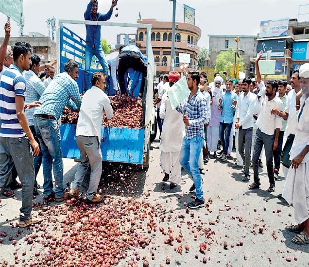 जोधपूरमध्ये शेतकऱ्यांनी कांदा रस्त्यावर फेकून दिला होता. आंदोलनात तरुण शेतकऱ्यांची संख्या अधिक होती. आंदोलनामुळे वाहतूकही ठप्प झाली होती. - Divya Marathi