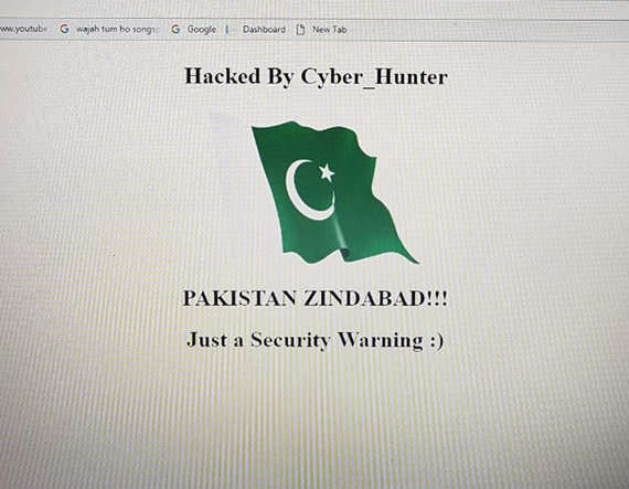 वेबसाईट उघडल्यावर त्यावर पाकिस्तानचा झेंडा दिसत होता. - Divya Marathi