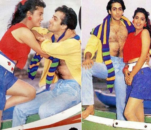 जुही चावलासोबत अभिनेता सलमान खान - Divya Marathi