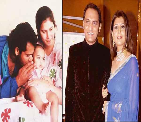 टीम इंडियाचा माजी कर्णधार मोहम्मद अजहरुद्दीन पहिली पत्नी नौरीन (लेफ्ट) आणि दुसरी पत्नी संगीता बिजलानीसोबत. अझरने दोघींना घटस्फोट दिला आहे. - Divya Marathi