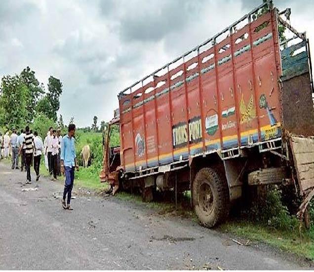 पोलिसांना चकमा देताना उलटलेला जनावरांचा हाच तो ट्रक. - Divya Marathi