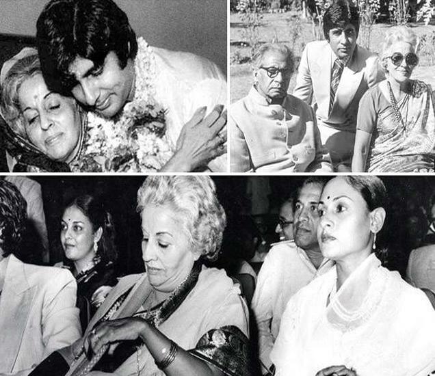 वरील फोटोत आई तेजी बच्चन आणि वडील हरिवंश रायसोबत अमिताभ... खाली, सासूबाई तेजी बच्चनसोबत जया बच्चन - Divya Marathi