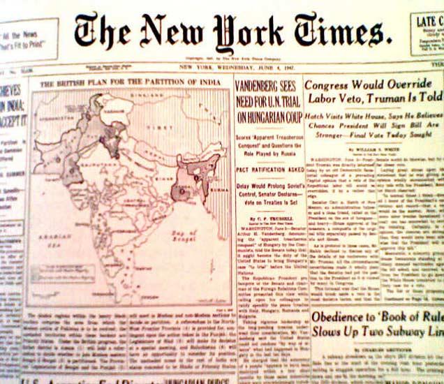 न्यूयॉर्क टाइम्सने स्वतंत्र भारताचा पहिला नकाशा छापला होता. - Divya Marathi