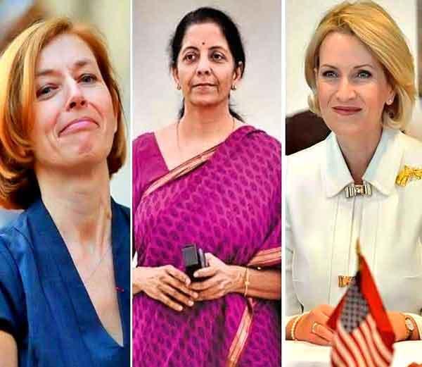 डावीकडून... फ्लोरेंस पार्ले (फ्रान्स), निर्मला सीतारमन (भारत) आणि अल्बेनियाच्या मिमी कोधेली.... - Divya Marathi