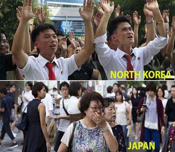 हायड्रोजन बॉम्बची चाचणी यशस्वी झाल्यानंतर आनंद व्यक्त करणारे उत्तर कोरियन लोक(वर) खाली धक्का बसलेले जपानचे लोक... - Divya Marathi
