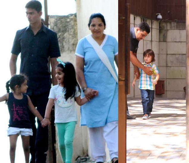 अक्षय कुमारची मुलगी नितारा मैत्रिणीबरोबर. तर अबराम मन्नतच्या बाहेर दिसला. - Divya Marathi