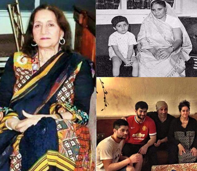 डावीकडे सनी देओलची आई प्रकाश कौर, उजवीकडे वर - आजी सनी आणि खाली -पत्नी आणि दोन्ही मुलांसोबत सनी देओल - Divya Marathi
