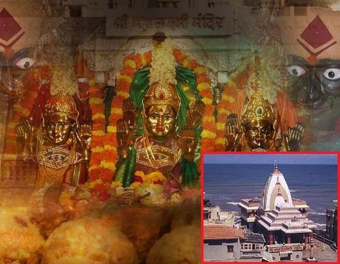 मंदिराच्या आत असलेली महालक्ष्मीची मुर्ती. (इन्सॅटमध्ये समुद्र किनारी बनलेले महालक्ष्मी मंदिर) - Divya Marathi