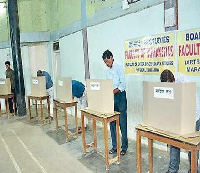 संत गाडगेबाबा अमरावती विद्यापीठाच्या सिनेट निवडणुकीत शहरातील श्री शिवाजी शारिरीक शिक्षण महाविद्यालयात मतदान करताना मतदार. - Divya Marathi