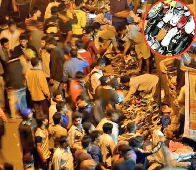 दीड गल्ली येथे हा सिक्रेट बाजार पहाटे 4 वाजता भरतो. इन्सॅटमध्ये येथे विकले जाणारे बॅंन्डेड शुज. - Divya Marathi