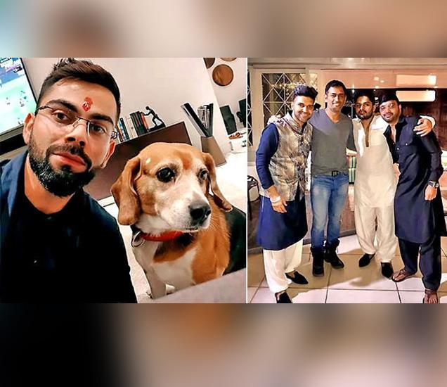 विराट कोहलीने आपल्या डॉगीसोबत सेल्फी पोस्ट केली, तसेच मित्रांसोबतही दिवाळी साजरी केली. - Divya Marathi