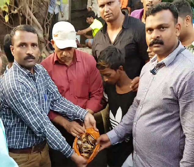 चोरांनी सांगितल्यानंतर पोलिसांना विहिरीत हा खजाना सापडला आहे. - Divya Marathi