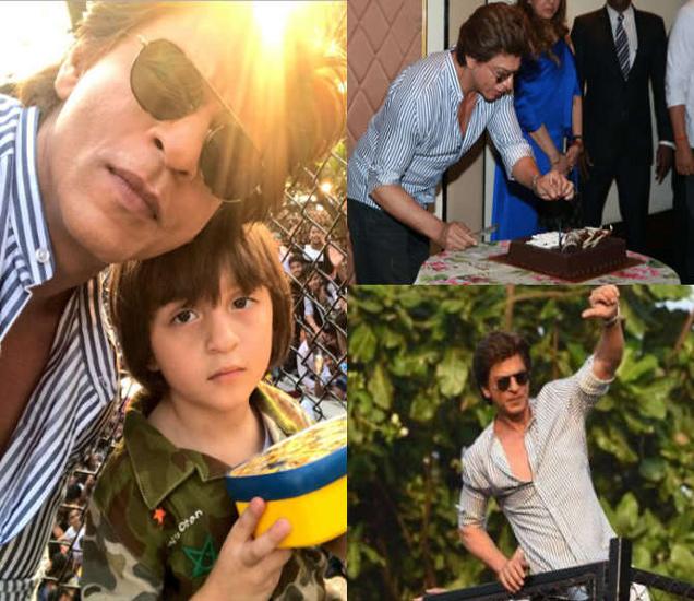 मुलगा अबरामसोबत 'मन्नत'च्या बालकनीत शाहरुख, पत्रकारांसोबत बर्थडे सेलिब्रेट करताना शाहरुख. - Divya Marathi
