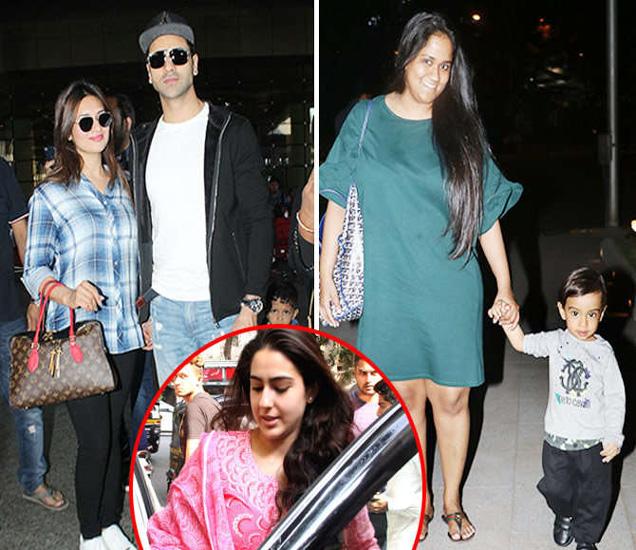 एअरपोर्टवर पती विवेक दहियासोबत दिव्यांका त्रिपाठी (R).. मुलगा आहिलसोबत अर्पिता खान, इनसेटमध्ये सारा अली खान - Divya Marathi