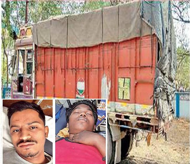 जिल्हापेठ पाेलिस ठाण्यात उभा असलेला हाच ताे ट्रक. जखमी वसीम शेख व सैयद जुनेद. - Divya Marathi