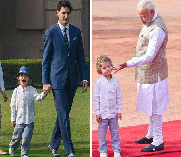 कॅनडाचे पंतप्रधान जस्टिन ट्रूडो आपला छोटा मुलगा हॅड्रिन आणि फॅमिलीसोबत. दुसऱ्या फोटोमध्ये पंतप्रधान मोदी हॅड्रिनचा लाड करताना दिसत आहेत. - Divya Marathi
