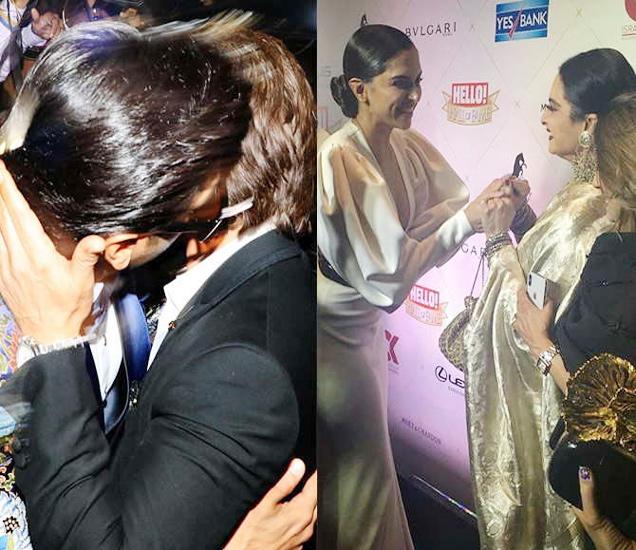 शाहरुख खानला किस करताना रणवीर सिंह. दीपिका पदुकोण आणि रेखा - Divya Marathi