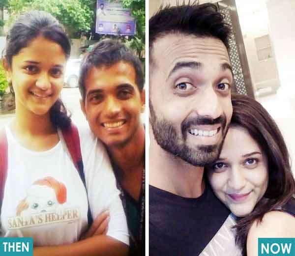 अजिंक्य रहाणे आणि राधिका लग्नाआधी (डावीकडे) आणि लग्नानंतर (उजवीकडे) - Divya Marathi