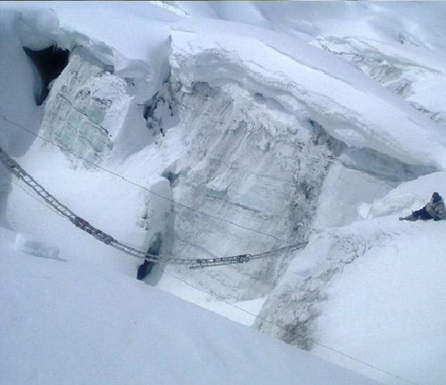 ३० हजार फुटांच्या उंचीवर बर्फाची दरी ओलांडताना सैनिक. हे छायाचित्र आम्हाला विशेषत्वाने लष्कराच्या एडीजी-पीआयने उपलब्ध करून दिले आहे. - Divya Marathi