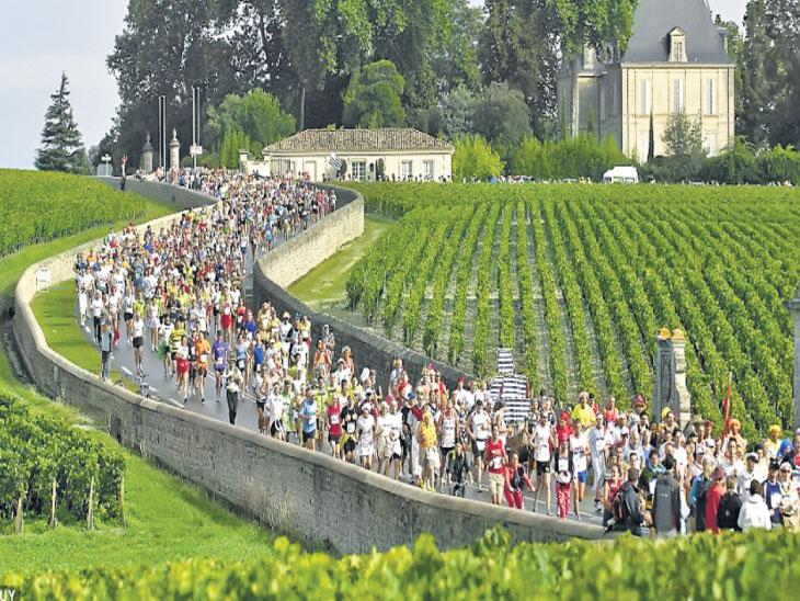 फ्रान्सची आरामदायी मॅरेथॉन : ज्यात खाता-पिता धावावे लागते; ३५ वर्षांपासून होतेय मॅरेथॉन; ८५०० लोकांनी घेतला सहभाग|स्पोर्ट्स,Sports - Divya Marathi