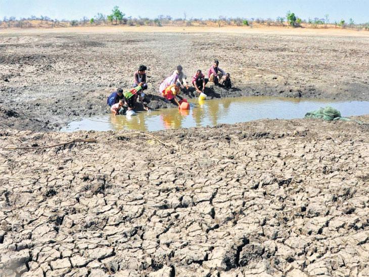 कपड्याने गाळून पीत आहेत चिखलाचे पाणी; गुरेही पिणार नाहीत असे पाणी आदिवासींना प्यावे लागते जळगाव,Jalgaon - Divya Marathi