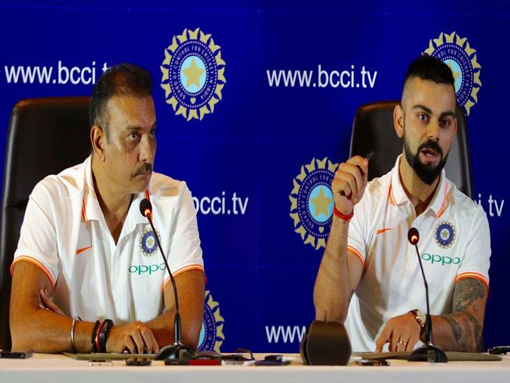 WorldCup2019 / इंग्लंडला रवाना होण्यापूर्वी कोहली आणि शास्त्रींनी घेतली पत्रकार परिषद, शास्त्री म्हणाले- संघात कोणताच बदल नाही, केदार जाधव फीट आहे...|क्रिकेट,Cricket - Divya Marathi