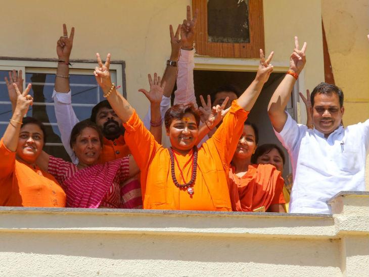 निकालाबाबत नेत्यांच्या प्रतिक्रिया :  साध्वी प्रज्ञा म्हणाल्या - अधर्मचा नाश होणार तर सुषमा स्वराजांनी मोदींना दिल्या शुभेच्छा|देश,National - Divya Marathi