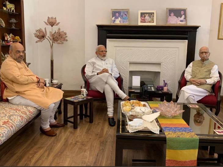 मोदी-शाहंनी घेतली आडवाणी आणि जोशींची भेट; मुरली मनोहर जोशी म्हणाले- 'आम्ही बी रोवले, आता फळ देण्याची जबाबदारी तुमच्यावर'|देश,National - Divya Marathi