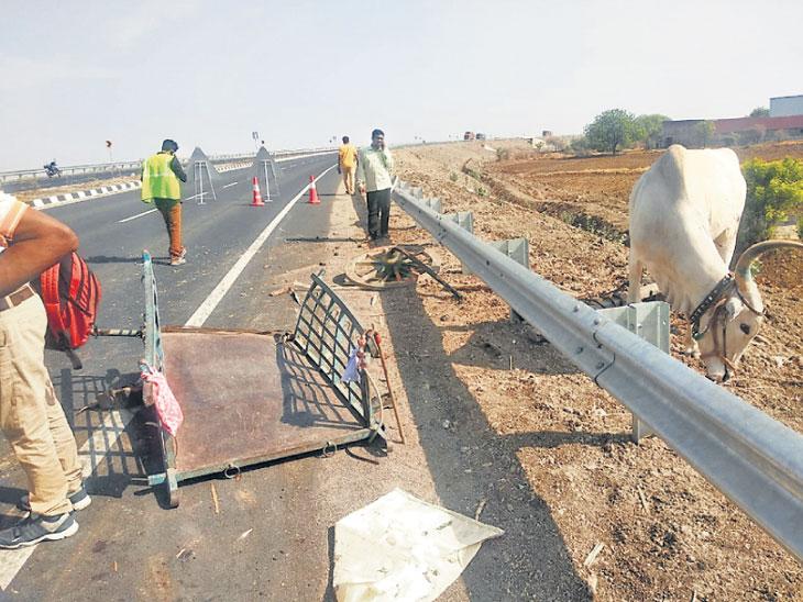 गेवराईमध्ये  एका अपघातात बैलगाडीला कंटेनरने धडक दिली तर दुसऱ्या अपघातात कारने दुचाकीला धडक दिली; १ ठार तर ७ जण जखमी|औरंगाबाद,Aurangabad - Divya Marathi