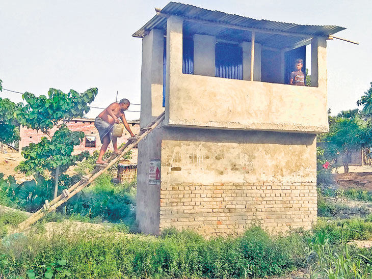 हवा-हवाई टॉयलेट : बिहारच्या अजब शौचालयाची गजब कहाणी, शिडी लावून जावे लागते शौचालयात  - Divya Marathi