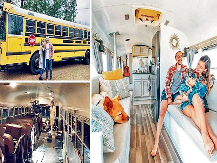 ४० फूट लांब बसचे केले घरकुलात रूपांतर; अडीच लाख रुपये खर्चाच्या याच घरामधून निघाले जगभ्रमंतीला| - Divya Marathi