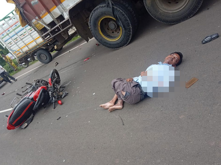 दुचाकी ट्रकवर आदळली, मागची जीप अंगावरून गेल्याने नवदांपत्याचा मृत्यू|औरंगाबाद,Aurangabad - Divya Marathi