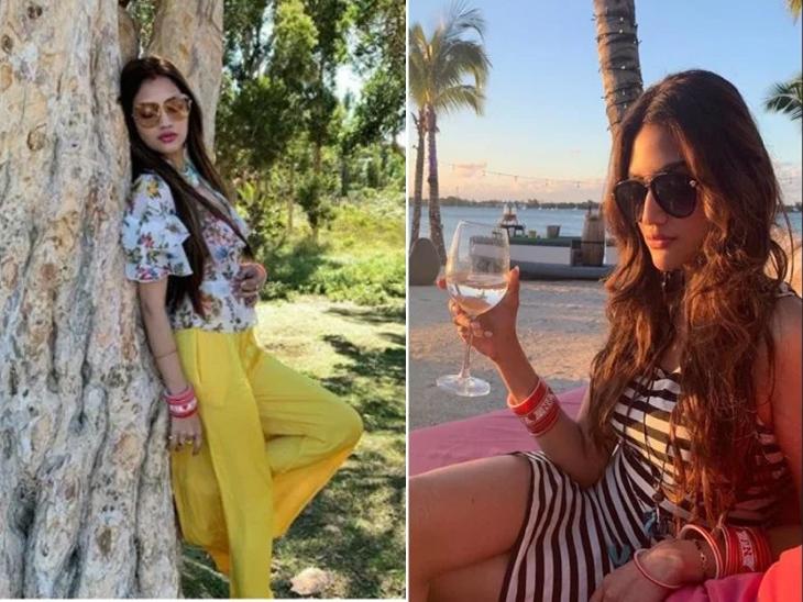 खासदार नुसरत जहाचे हनीमून फोटो झाले व्हायरल, हातात ड्रिंक घेऊन बीचवर पोज देताना दिसली अभिनेत्री  - Divya Marathi