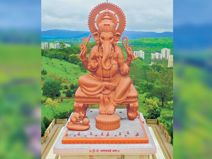 महाकाय महाधिपती : पुण्याजवळ सह्याद्रीच्या डोगररांगांत विशाल १ हजार टन वजनी मूर्ती, तांब्याचा मुलामा|पुणे,Pune - Divya Marathi
