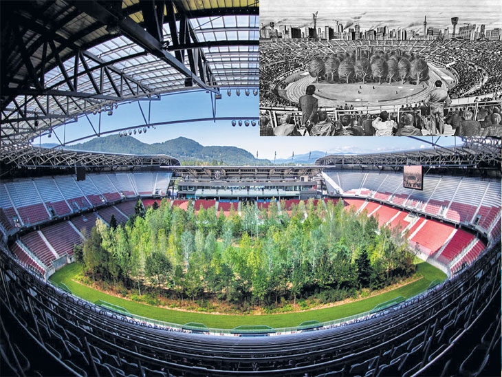 ऑस्ट्रियाच्या फुटबॉल स्टेडियममध्ये आता सामने नाही; मैदानावर लावली ३०० झाडे, लोक तिकीट घेऊन झाडे पाहण्यासाठी येतील| - Divya Marathi