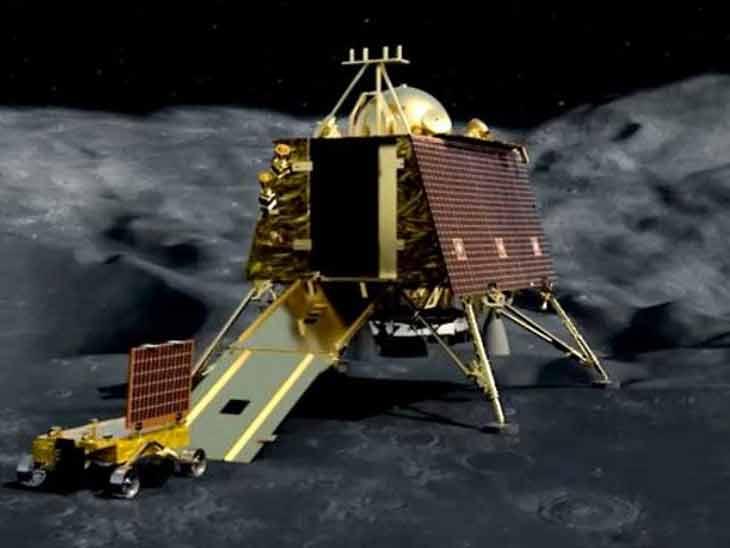 चंद्रावर सुस्थितीत कलंडलेल्या अवस्थेत आढळले लँडर विक्रम : इस्रो| - Divya Marathi