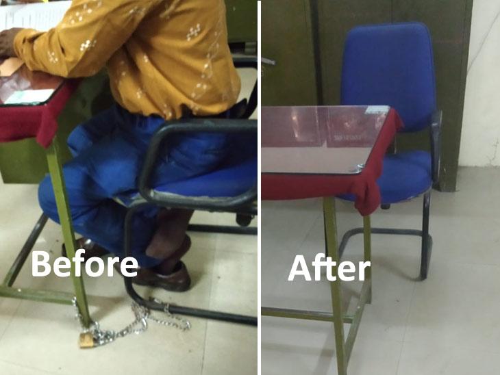 जिल्हा परिषदेच्या अधिकाऱ्याला अखेर सोडावा लागला खुर्चीचा मोह! तारोंची खुर्ची टेबल साखळीतून मुक्त , कुणीही नेऊ नये म्हणून साखळ्यांनी बांधली होती खुर्ची औरंगाबाद,Aurangabad - Divya Marathi