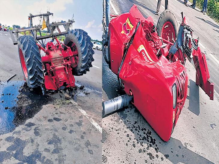 कारची ट्रॅक्टरला जोरदार धडक; ट्रॅक्टरचे दोन तुकडे, कारमधील तिघे गंभीर जखमी औरंगाबाद,Aurangabad - Divya Marathi