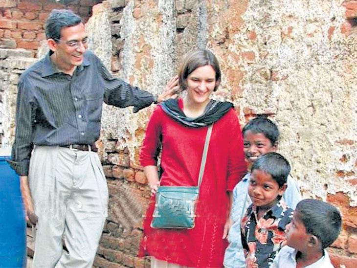नोबेल विजेते अभिजित बँनर्जी आणि एस्थर डुफ्लो. - Divya Marathi