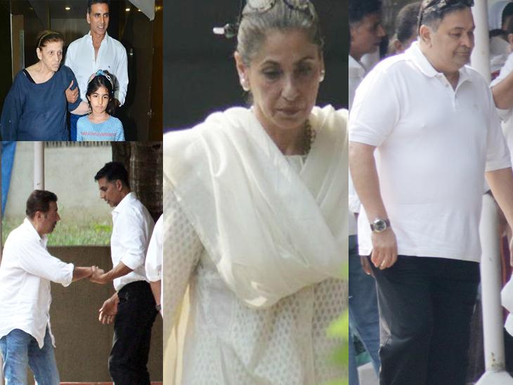 डावीकडे वर - बेट्टी कपाडियासोबत अक्षय कुमार आणि त्याची मुलगी नितारा, खाली बेट्टी यांच्या अंत्ययात्रेत सहभागी सनी देओल आणि अक्षय कुमार, मध्यभागी - डिंपल कपाडिया आणि उजवीकडे - ऋषी कपूर - Divya Marathi