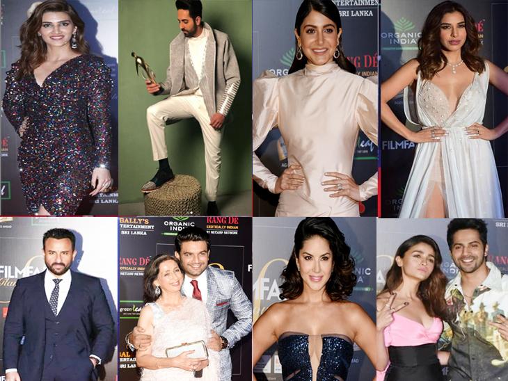 वर डावीकडून - क्रिती सेनॉन, आयुष्मान खुराणा, अनुष्का शर्मा, सोफी चौधरी, खाली - डावीकडून - सैफ अली खान, शरद केळकर आणि नीना कुलकर्णी, सनी लिओनी, आलिया भट आणि वरुण धवन - Divya Marathi