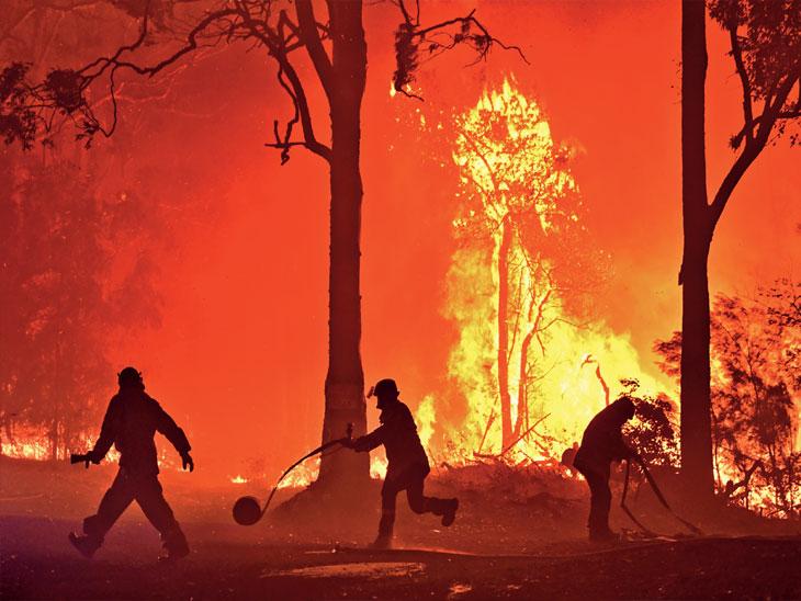छायाचित्र न्यू साऊथ वेल्स राज्यातील तर्मिल शहरातील अग्नितांडवाचे आहे. वणव्यात प्रिन्स हायवेही आला. - Divya Marathi
