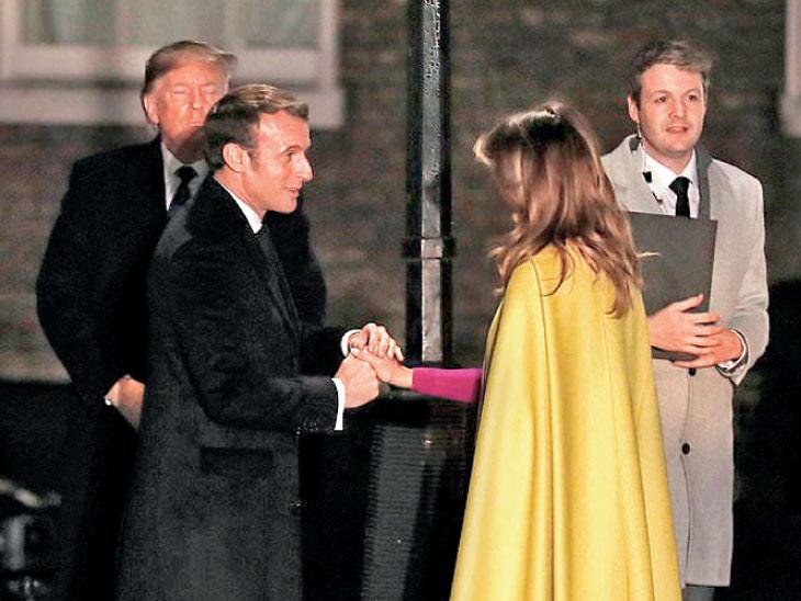लंडनमध्ये मेलानिया फ्रान्सचे अध्यक्ष मॅक्रोन यांना भेटल्या. त्याकडे ट्रम्प यांनी दुर्लक्ष केले. - Divya Marathi