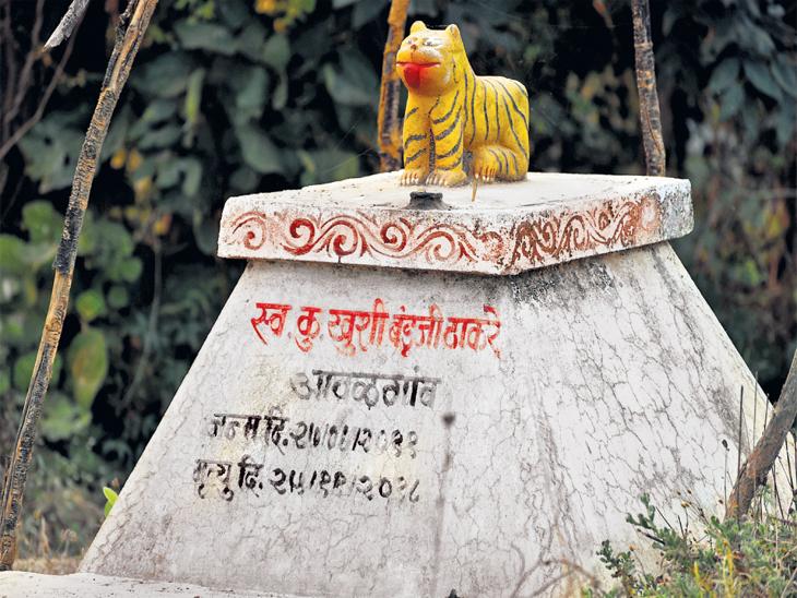 अावळगाव येथील खुशी ठाकरे हिच्या स्मरणार्थ बांधलेला चबुतरा. - Divya Marathi